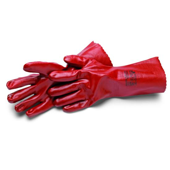 Ipari kesztyű PVC-ből, piros, saválló